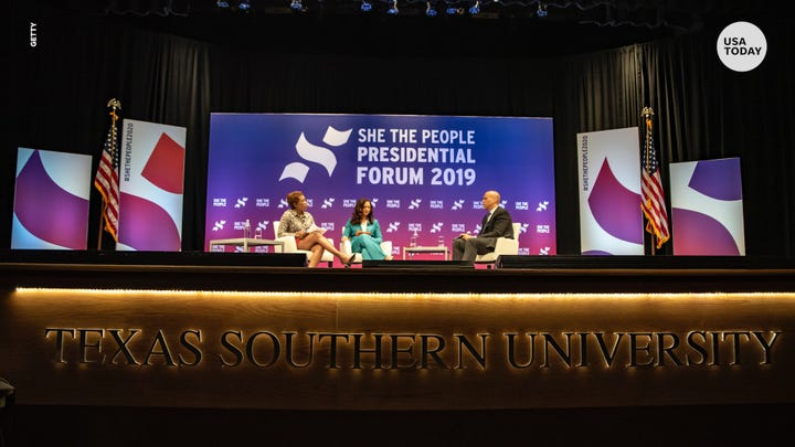 "Democratic 2020 presidential hopefuls joined the ""She the People Presidential Forum 2019"" to discuss their campaigns and platforms."