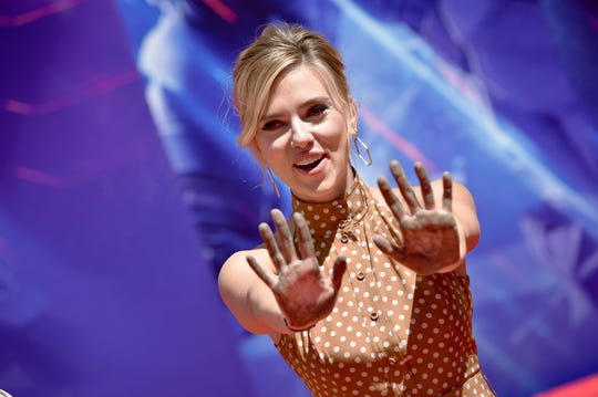 "Scarlett Johansson attends Marvel Studios' ""Avengers: Endgame"" Cast Handprint Ceremony at TCL Chinese Theatre IMAX on April 23, 2019 in Hollywood, California."