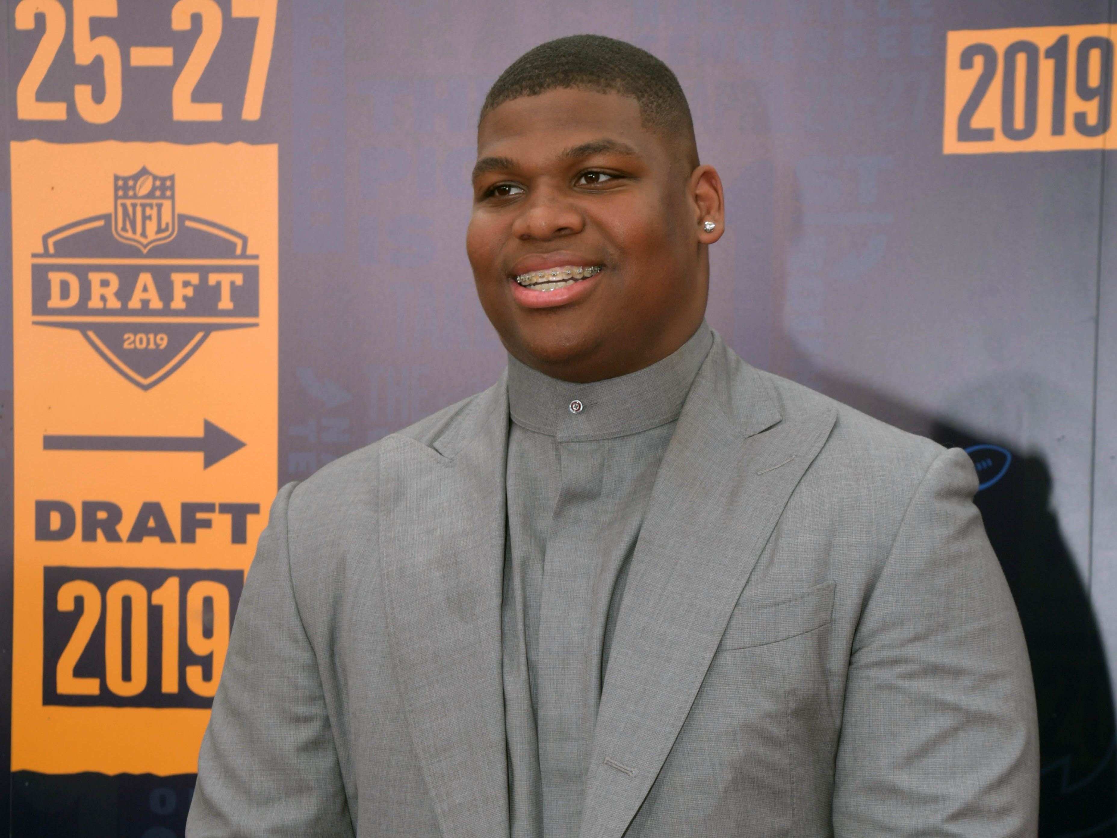 Quinnen Williams (from Alabama) on the red carpet prior to the first round of the 2019 NFL draft in Downtown Nashville.