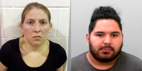 These undated photos provided by the Office of the Attorney General of Texas show Sarah Rashelle Almaguer and Christopher Almaguer.