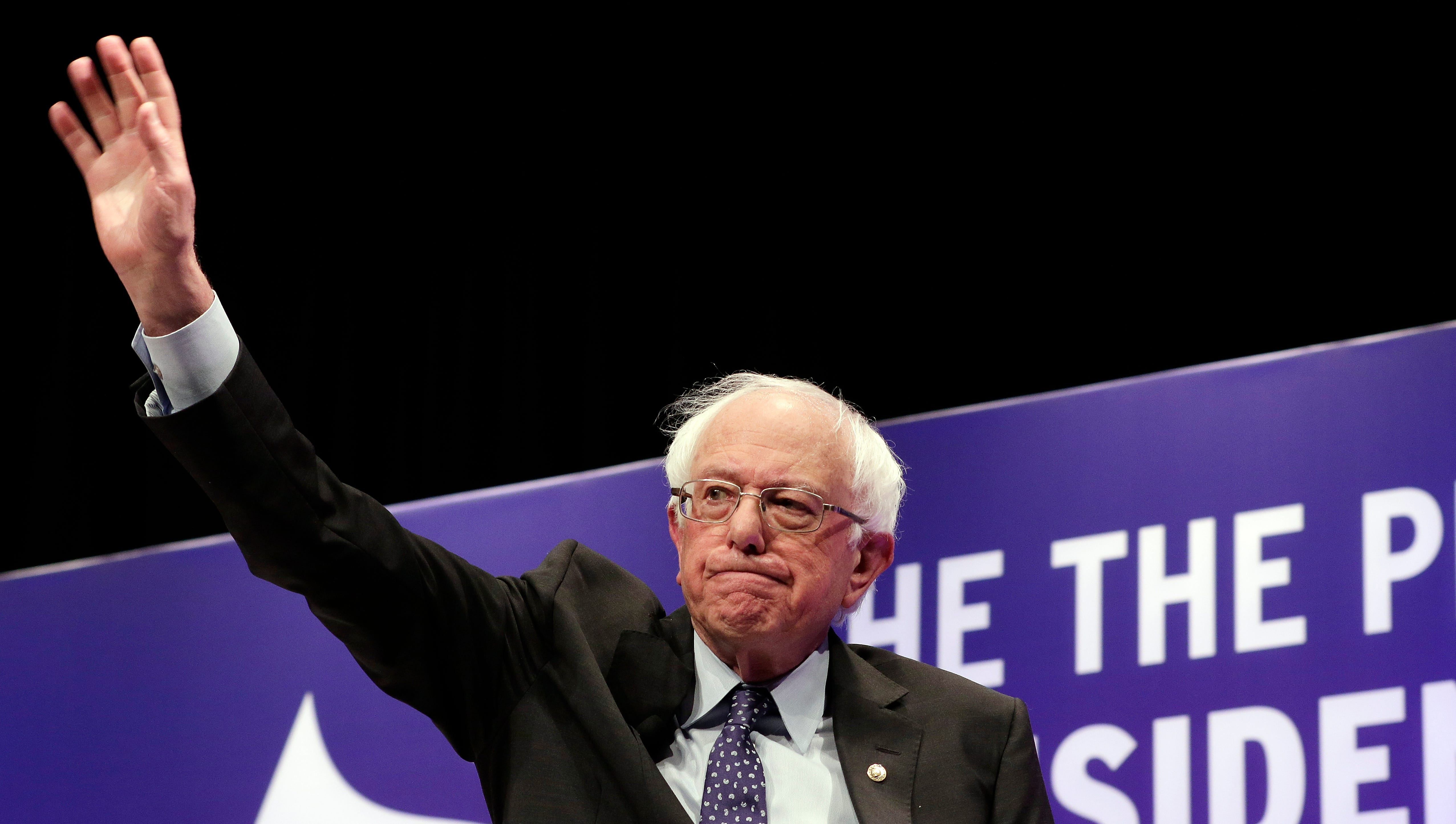 Democratic presidential candidate Sen. Bernie Sanders, I-Vt., waves as he attends a presidential forum held by She The People on the Texas State University campus Wednesday, April 24, 2019, in Houston.