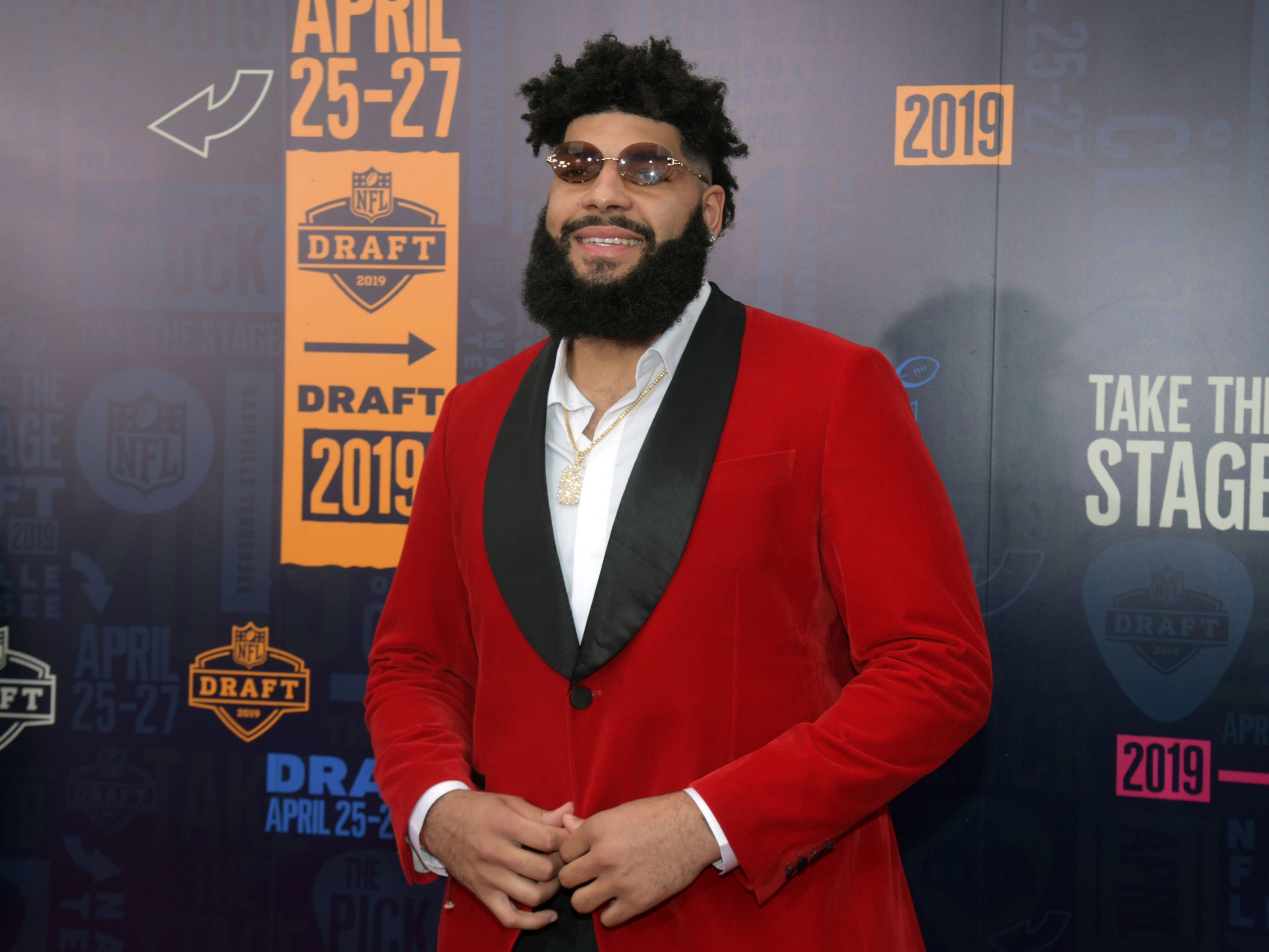 Cody Ford (of Oklahoma) on the red carpet prior to the first round of the 2019 NFL draft.