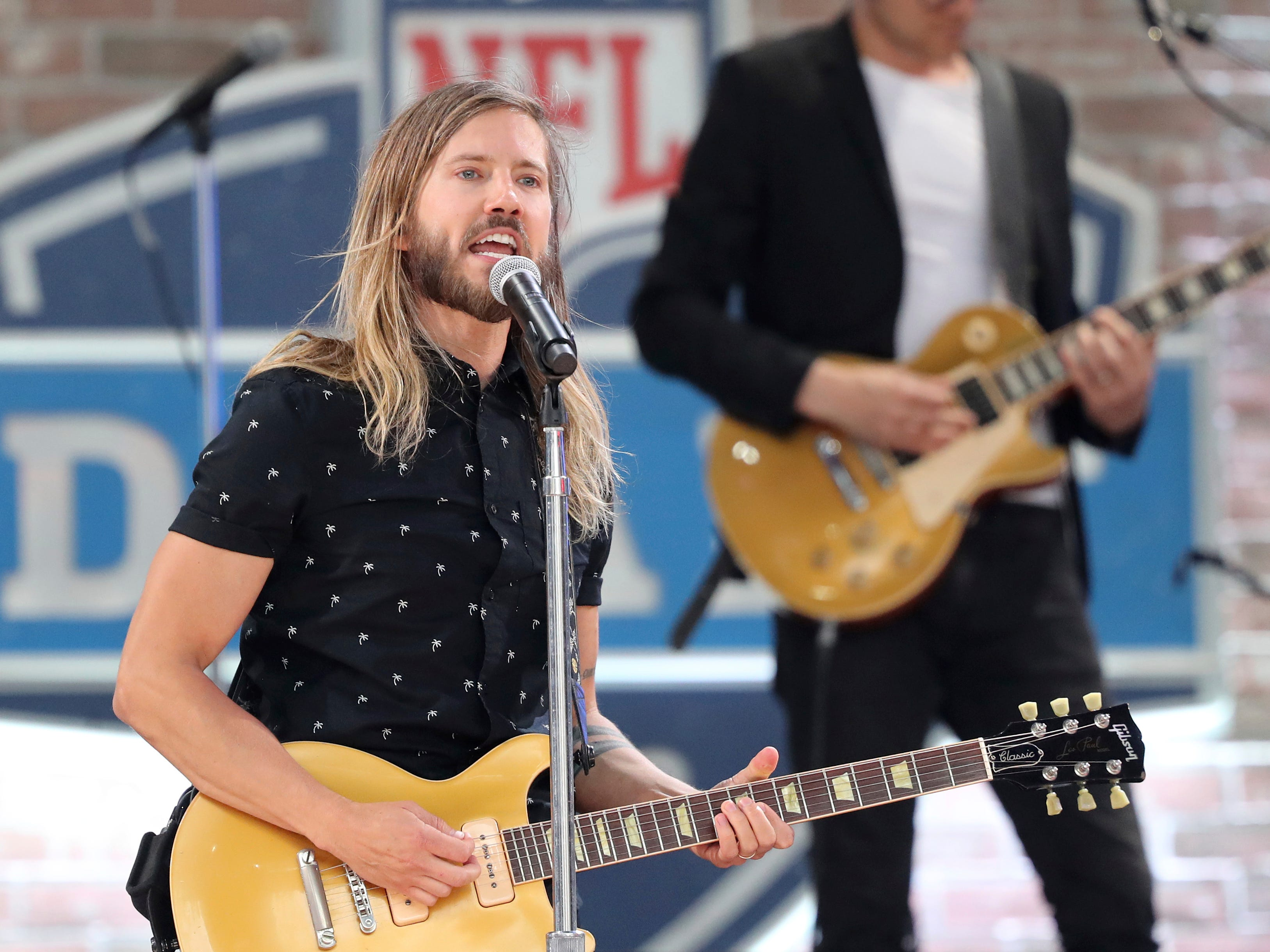 The band Moon Taxi performs before the start of the NFL draft.
