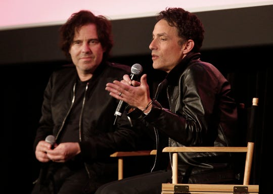 """Jakob Dylan and the """"Echo in the Canyon"""" director Andrew Slater hold a Q&A with the Paramount Theatre audience Thursday night, April 25, 2019, after a screening of the film at the Asbury Park Music + Film Festival."""