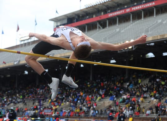 Mark Anselmi of Middletown South is successful in this attempt at 6-foot-6 in the high jump.