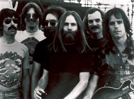 Mickey Hart, from left, Phil Lesh, Jerry Garcia, Brent Mydland, Bill Kreutzmann, and Bob Weir of the Grateful Dead, pictured in a file photo.