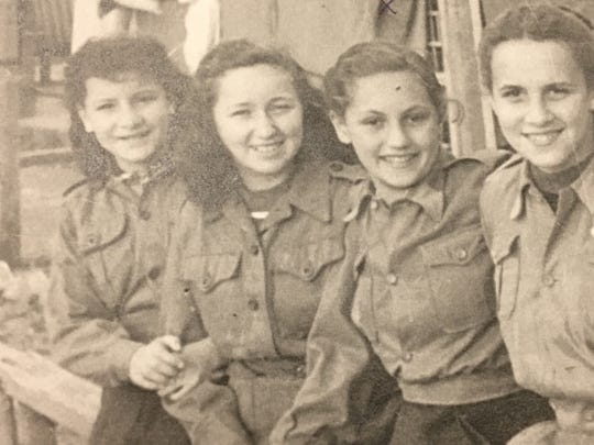 Claire Boren (second from right) as a child in a displaced persons camp in post-World War II Germany.