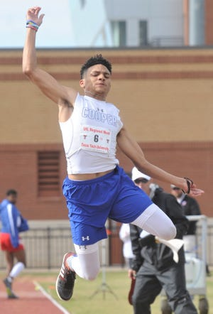 Cooper's Jayden Sloan competes in the Class 5A boys triple jump. Sloan, who won the Districts 3/4-5A area title with a 45-111/2 on April 18, finished 10th at the Region I-5A track and field meet Friday with a leap of 43-31/4 at Lowrey Field in Lubbock.