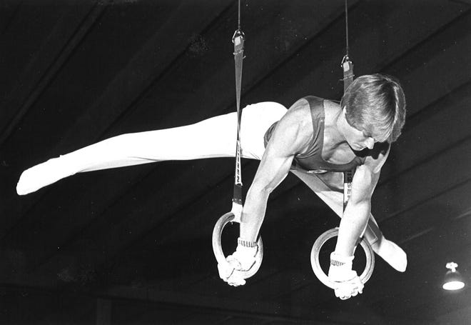 Mark Oates, 20, competes for the University of Oklahoma in 1983.