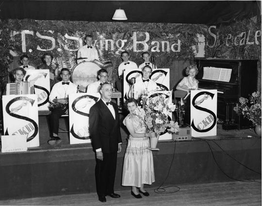 Central Kitsap High School's T.S. Swing Band director, Shirley Sackman, receives a floral tribute following a performance in Silverdale in the mid-1950s. In the back row are L-R: Joe Sackman, Marilyn Fertch, Jerry Hermanson, and two unknowns. Front row, L-R: Unknown accordion player, Kenny Avery, Doug Lent, Ron Theis, Francis Tonge. To see more photos from the Kitsap County Historical Society Museum archives, visit facebook.com/kitsaphistory, kitsapmuseum.org, or stop by the museum at 280 Fourth Street in Bremerton. Call 360-479-6226 for information.