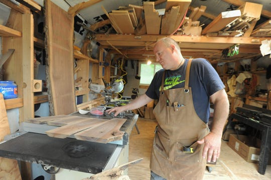 Rick Pocock works on cutting boards in his Full Dimension Woodwork shop in the Swannanoa Valey. Pocock is one of around two dozen members of the Black Mountain Tailgate Market, which returns for its 25th season on May 4.