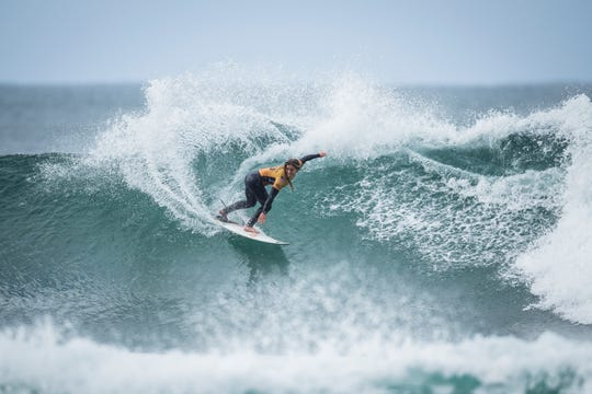 Caroline Marks, 17, of Melbourne Beach  advances to the quarterfinals of the 2019 Rip Curl Pro Bells Beach event in Victoria, Australia.