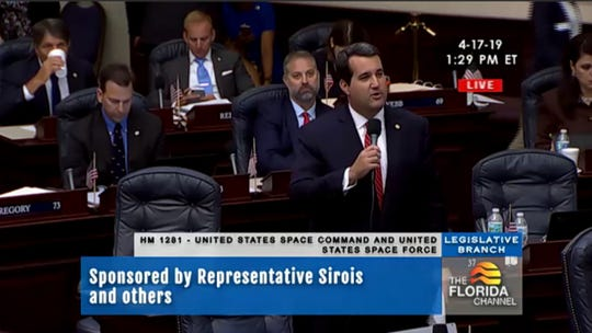 Florida Rep. Tyler Sirois of Cocoa discusses his proposal related to U.S. Space Command and U.S. Space Force on the House floor on April 17.