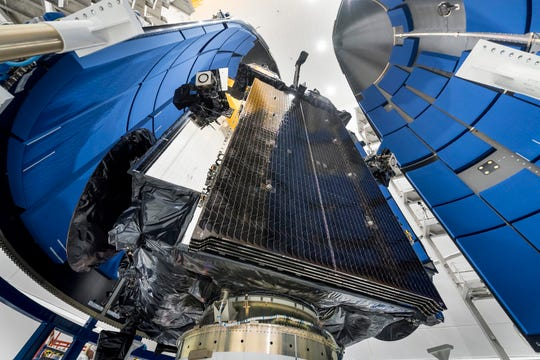 The Air Force's fourth Advanced Extremely High Frequency (AEHF-4) communications satellite before it was encapsulated in an Atlas V rocket payload fairing and launched from Cape Canaveral on Oct. 17, 2018.