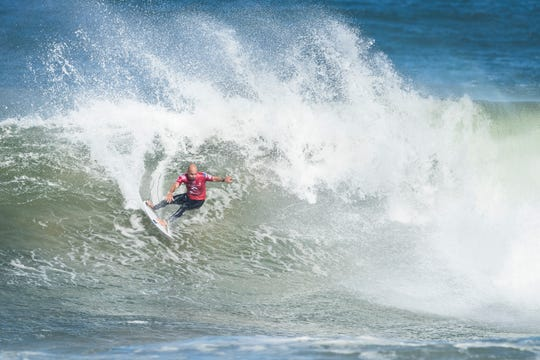 Eleven-time world champion Kelly Slater of Cocoa Beach advances to the quarterfinals of the 2019 Rip Curl Pro Bells Beach surfing event in Victoria, Australia.