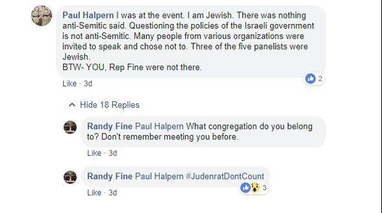 State Representative Randy Fine called a Jewish constituent a Judenrat on Facebook during a political dispute over Israel-Palestine relations.