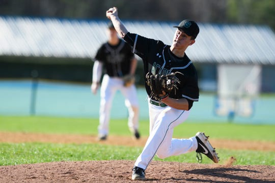 St. Johnsbury pitcher Tyler Wells delivers a pitch during the baseball game between the St. Johnsbury Hilltoppers and the Essex Hornets at Essex High School on Thursday April 25, 2019 in Essex, Vermont.
