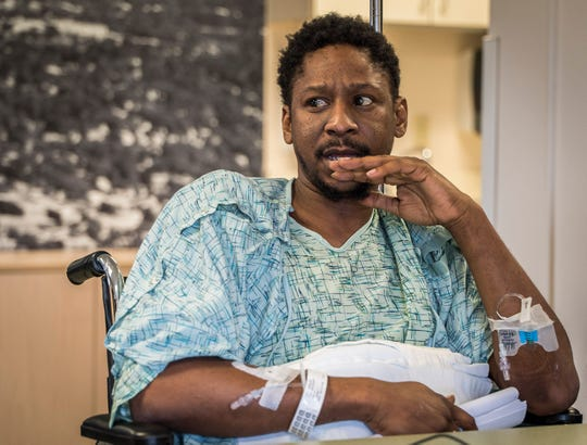 James Felix, 36, of Orlando, Florida, appears before a judge during an arraignment hearing held at the University of Vermont Medical Center. The sixth and final suspect in a fatal shooting in the Old North End of Burlington has denied a charge related to the death of city resident Benzel Hampton.