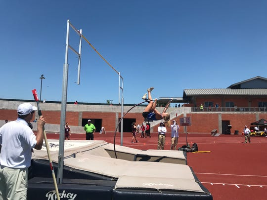 Gregory-Portland's Riley Floerke clears 12-feet, 3-inches on her way to winning the girls pole vault in the Region IV-5A track meet on Friday, April 26, 2019 at Heroes Stadium in San Antonio