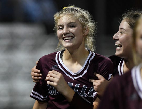 Calallen's Raegan Tennill smiles after her home run at the game against Veterans Memorial, Thursday, April 25, 2019, at Cabaniss Softball Field.