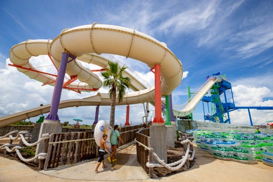 Riders enter the Sky Blaster at what is now called Waves Resort Corpus Christi Featuring Schlitterbahn Waterpark. The water park was sold at auction and was renamed by its new owner.