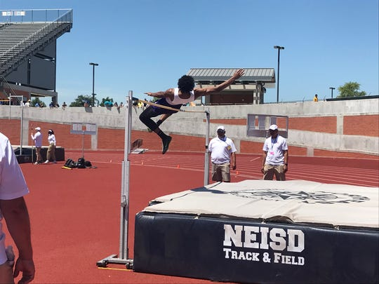 Miller's Xavier Callandret attempts 6-feet, 6-inches in the Class 5A boys high jump at the Region IV-5A track meet on Friday, April 26, 2019 at Heroes Stadium in San Antonio.