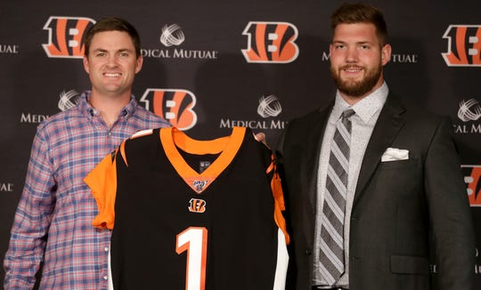 Cincinnati Bengals head coach Zac Taylor, left, introduces 2019 first-round NFL Draft pick, offensive tackle Jonah Williams, on Friday, April 26, 2019, at Paul Brown Stadium in Cincinnati.