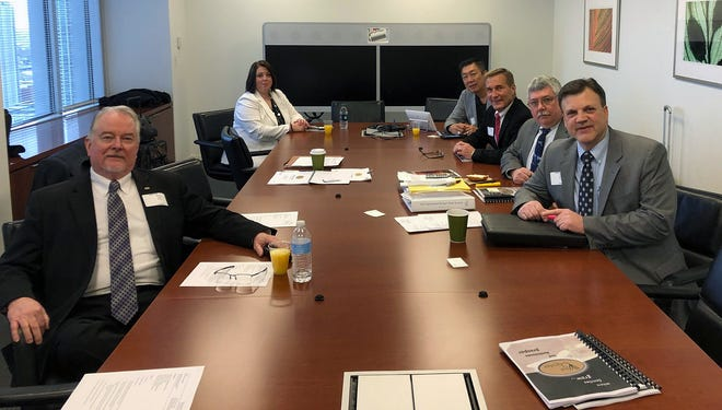 West Chester officials, from left: Bruce Jones, Ann Becker, Lee Wong, Mark Welch Ken Keim, and Larry Burks went to Chicago recently to present to Moody's Investors Services for its 2019 rating.