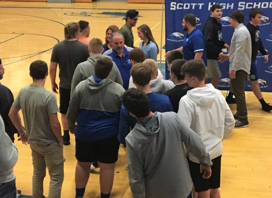 Eric Turner greets Scott players after his introduction as head football coach, April 25, 2019.