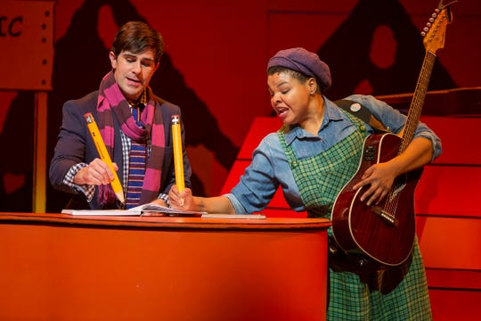 """Schroeder (Brett Ryback) and Patty (Stephanie Anne Johnson) are among the characters in the Playhouse in the Park's production of """"You're a Good Man, Charlie Brown."""" Inspired by Charles M. Schulz's famed comic strip, the show runs through May 18."""