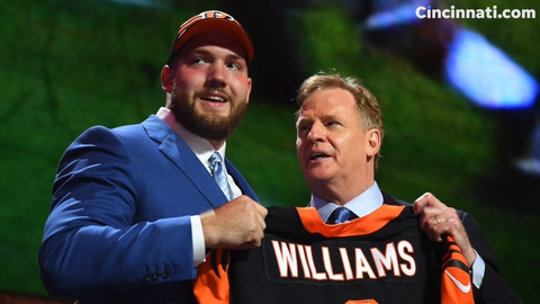 Cincinnati Bengals first-round pick offensive tackle Jonah Williams talks over the phone with reporters at Paul Brown Stadium.