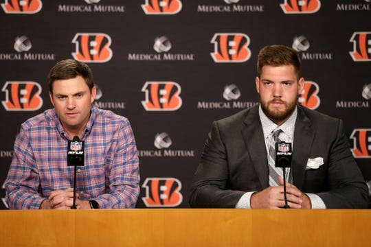 Cincinnati Bengals head coach Zac Taylor, left, addresses the media with 2019 first-round pick, offensive tackle Jonah Williams, on Friday at Paul Brown Stadium.
