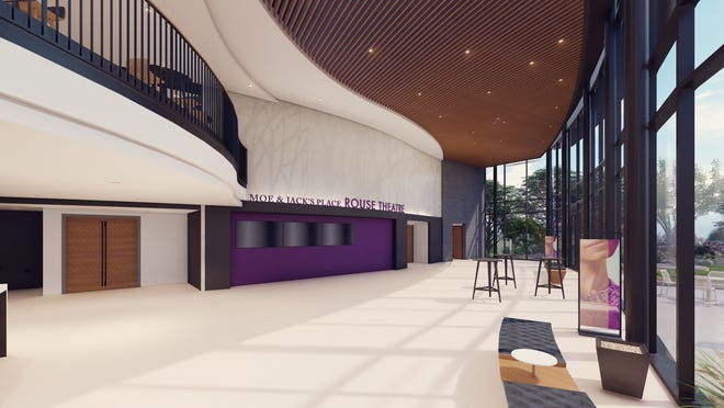 """A view of the lobby of Playhouse in the Park's new theater complex, scheduled to open in late 2022. Here, you can see the entrance to the new 530-seat """"Moe & Jack's Place – Rouse Theatre."""""""