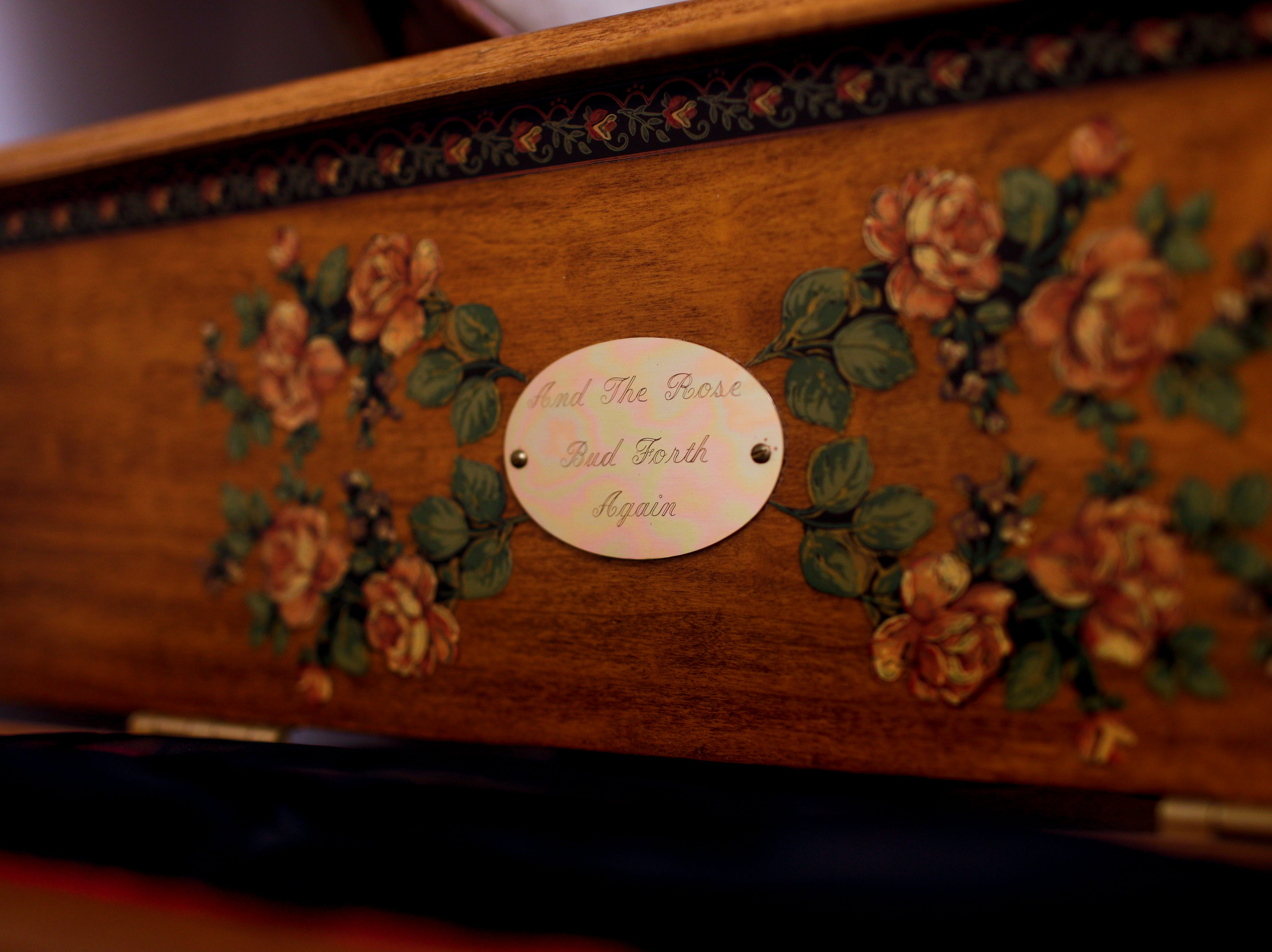 A box that contains drapes for use when a lodge member passes away are kept in an old box at Odd Fellow Lodge in Clarksville, Tenn., on Tuesday, April 23, 2019.