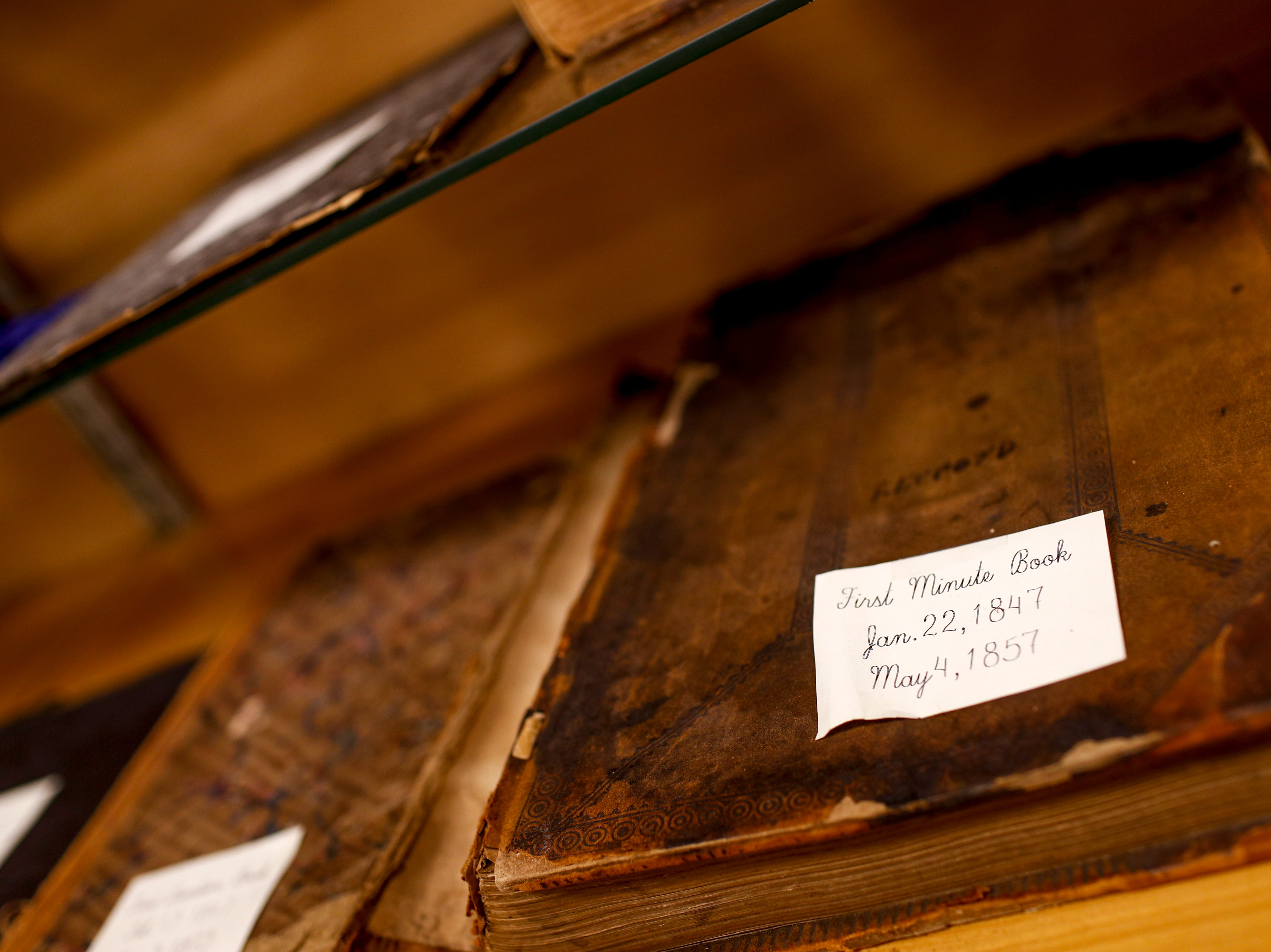 The very first book used to record minutes is on display in a glass cabinet for viewing at Odd Fellow Lodge in Clarksville, Tenn., on Tuesday, April 23, 2019.