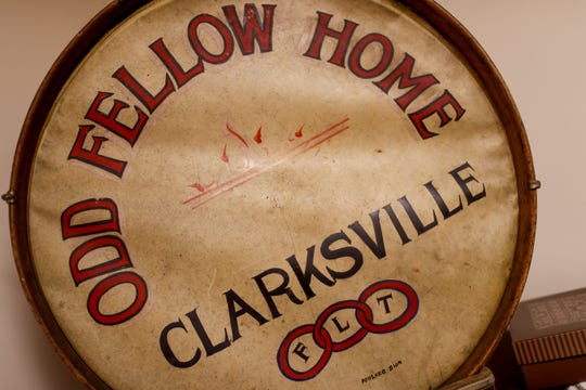 An old drum that was used for ceremonies is on display at Odd Fellows Lodge in Clarksville, Tenn., on Tuesday, April 23, 2019.