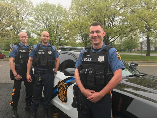 Raritan Township police officers Adam Swiatek, Brett Szatkowski and Robert Schenck are receiving Valor Awards from the 200 Club of Hunterdon County for rescuing a disabled woman from a house fire.