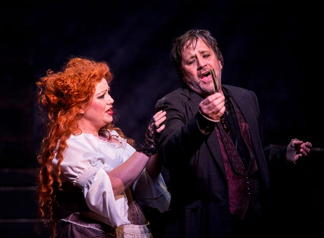 Nick Fischer and Michelle Kittle, who play the roles of Sweeney Todd and Mrs. Lovett respectively, rehearse the first act of the production. The show opens May 3 at Triple Locks Theatre and tickets are still available.