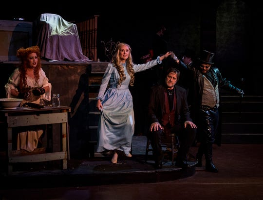The cast of Sweeney Todd rehearses at the Triple Locks Theatre. The show opens May 3 and tickets are still available.