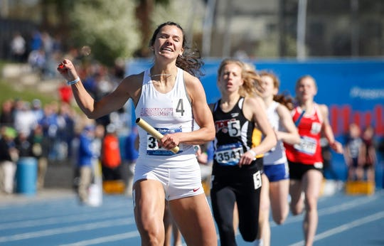 Davenport Assumption's Carly King anchored her sprint medley relay team to a win during Drake Relays at Drake Stadium in Des Moines on Friday, April 26, 2019.