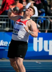 Noah Fenske of New Hampton competes in the shot put at the Drake Relays Thursday, April 25, 2019.
