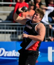 Jake Remsburg of West Des Moines Valley competes in the shot put at the Drake Relays Thursday, April 25, 2019.