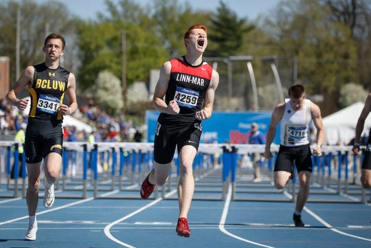 Linn-Mar's Trent Davis set a new record in his win in the 110 hurdles during Drake Relays at Drake Stadium in Des Moines on Friday, April 26, 2019.