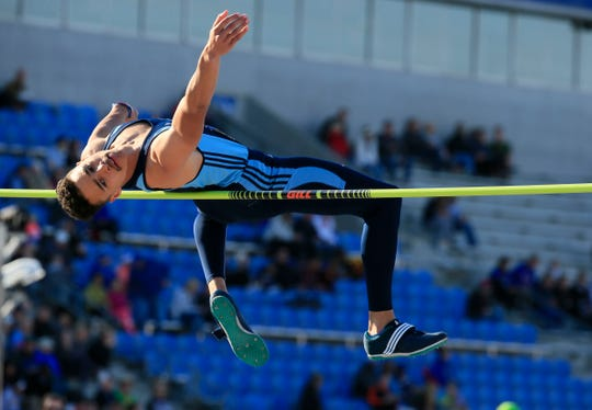 Braeden Hoyer from northeast competes in the high jump at the Drake Relays Thursday, April 25, 2019.
