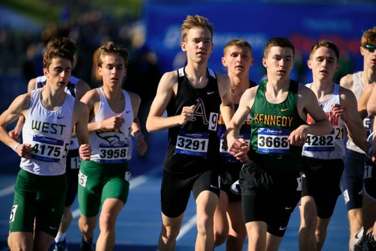 Tim Sindt of Ankeny wins the boys 3200 meter at the Drake Relays Thursday, April 25, 2019.