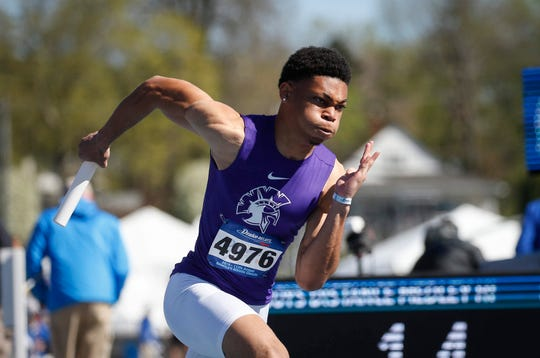 Waukee Kahlil Hicks-Jumper explodes off the starting block in the 1600 medley relay during Drake Relays at Drake Stadium in Des Moines on Friday, April 26, 2019.