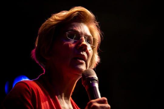 U.S. Sen. Elizabeth Warren, D-Mass., gives her stump speech and answers questions from the audience during a Linn Phoenix Club meet and greet on Thursday, April 25, 2019, in Cedar Rapids.