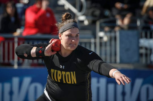 Tipton senior Jamie Kofron throws the shot putt en route to a win during Drake Relays at Drake Stadium in Des Moines on Friday, April 26, 2019.
