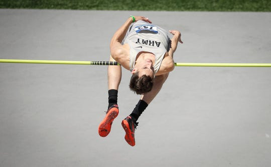 Army West Point senior Jeff Giannettino clears the bar in the high jump during Drake Relays at Drake Stadium in Des Moines on Friday, April 26, 2019.