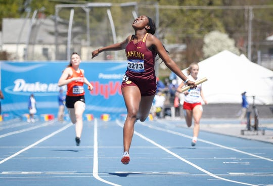 Ankeny's Mytika Mayberry anchored her 4x200 meter relay team during Drake Relays at Drake Stadium in Des Moines on Friday, April 26, 2019.